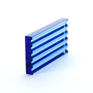 Modern Blue Glass Scalloped Rectangular Block