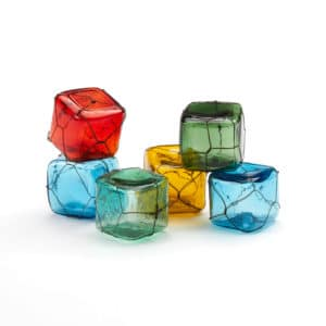 Glass Floats Set No.3 (Vintage Set of 6 Colored Cubes)